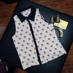Ladies designer skull print blouse size 2XL